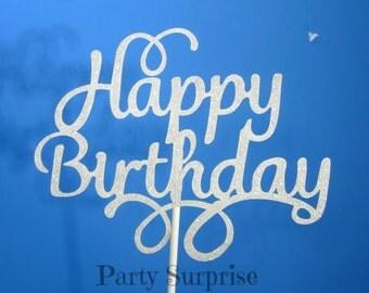 Happy Birthday Cake Topper Silver Glitter Birthday Party Decoration Silver Happy Birthday Cake Topper