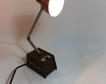 Vintage Brown Mobilite Adjustable Desk Lamp