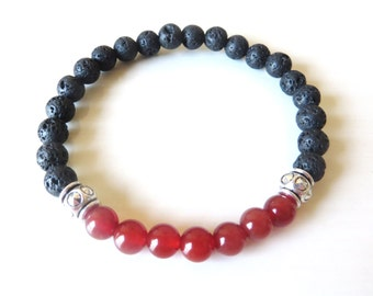 Chakra Bead Red Agate Lava Bead Essential Oil Aromatherapy Yoga Relaxation Therapeutic Stretch Bracelet