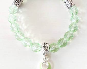 Lime Green Lymphoma Awareness Ribbon Beaded Charm Bracelet