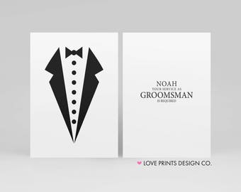 Will You Be My Groomsman, Junior Groomsman, Usher, Wedding Party Printable, Best Man, Groomsman Invite,  Groomsman Bow Tie