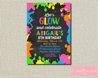 Glow Birthday Invitation, Glow Party Invitation, Glow Invitation, Neon Birthday Invitation, Neon Invitation, Neon Invitation, Digital