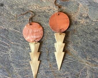 Boho Dangle Earrings- Tribal Earrings- Dagger Earrings- Copper and Brass Earrings- Lightening Earrings- Big Boho Earrings