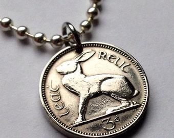 1950 - 1960 Ireland 3 Pence coin pendant Irish rabbit hare easter bunny Gaelic harp St Patricks Day hare cute animal Éire necklace n000121