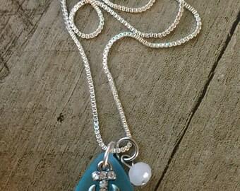 Sea Glass Anchor Necklace, Silver Plated Necklace, Ocean, Anchor