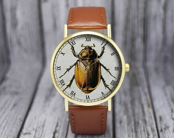 Vintage Beetle Watch | Insect | Leather Watch | Ladies Watch | Men's Watch | Birthday | Wedding | Gift Ideas | Fashion Accessories