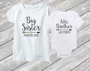Big Sister Little Brother Sibling Shirt Set - Personalized Sibling Shirts - Baby Announcement