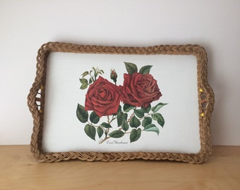 SALE- Vintage Rose Print Tray with Wicker Handles and Bead Detail