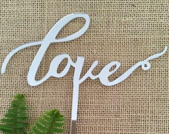 Love Acrylic Silver Mirror Wedding Cake Topper