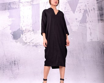 Dress, Black linen dress, midi dress, long dress, loose dress, asymmetric dress, plus size, party dress by UrbanMood - UM-161-LN