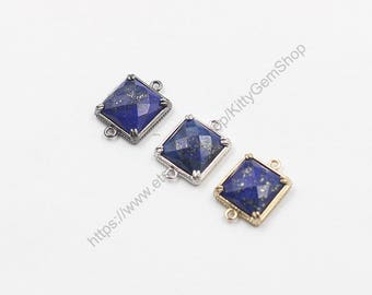 14mm Faceted Lapis Lazuli Connectors -- With Electroplated Gold Edge Charms Wholesale Supplies YHA-294-19