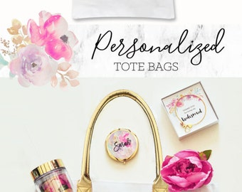 Personalized Tote Bags Custom Tote Bags Personalized Bags Floral Tote Bag Floral Bag Birthday Gift for Best Friend Birthday Gift (EB3162BPW)