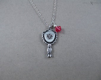 Beauty and the Beast Mirror Charm Necklace - Belle - Silver Charm