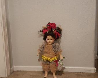 Porcelain Doll Flower and Fur Nature Spirit