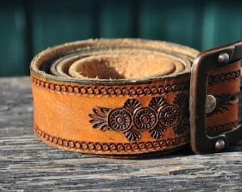 Belt, leather belt, mens belt, mens leather belt, vintage belt, western belt, tooled leather belt, southwestern belt, carved leather belt