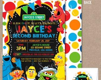 Sesame Street Birthday Invitation, Sesame Street Invite, Sesame Street Invitation, Sesame, Street, Sesame Street Birthday, #0024