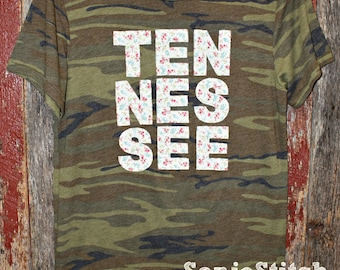 Camo Tennessee Shirt - Alternative Camo shirt - Camo shirt with Tennessee floral applique - americana floral fabric - Tennessee