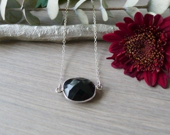 Sterling Silver, Onyx Necklace, Genuine Onyx, Large Onyx, Black, Simple Stone, Necklace, Simple Gemstone, Modern Onyx, Minimalist Necklace