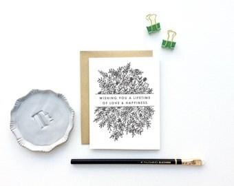 Wedding Card - Wishing You A Lifetime Of Love And Happiness | Wedding Card, Wedding Shower Card, Engagement Card, Bridal Shower Card