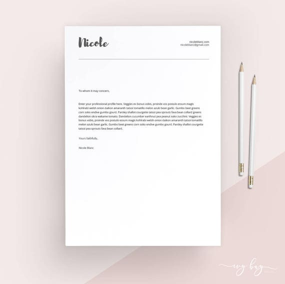 clean cover letter template cover letter letterhead word template simple cover letter instant download matching resume available - Cover Letter Letterhead