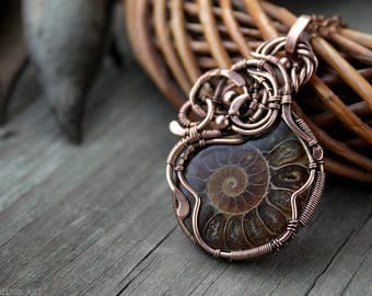 Ammonite pendant Wire wrap pendant Copper necklace Wire wrapped necklace Gift for her Boho pendant Wirewrapped jewelry Boho jewelry