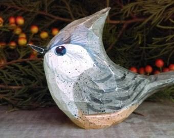 Hand Carved Windowsill Bird (Titmouse)