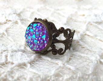 Purple Ring, Gifts For Her, Druzy Ring, Gifts Under 5, Filigree Ring, Gifts Under 10, Stocking Stuffers, Adjustable Ring, Bronze Ring