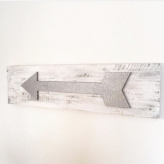 Large Arrow Sign - Handcrafted Distressed Wooden Glitter Arrow Sign