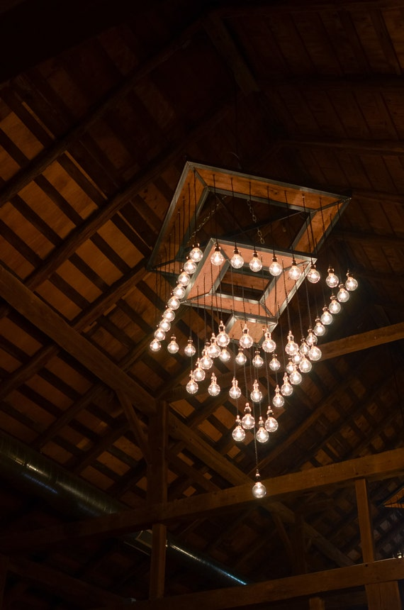 Rustic Industrial Chandelier Steel And Barn Wood Tiered