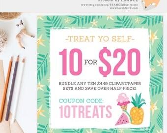 Coupon Code: 10TREATS. Get 10 Clipart or Digital Paper Packs for only Twenty Dollars! Save over Half Price. FRANCEillustration Clip Art Sale