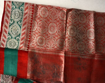 """45"""" x 31"""" Vintage Silk Sari Fabric Woven Metallic Emerald Green Silver Rusty Red- B7S"""