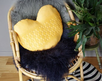 Yellow heart shaped  cushion with old lace