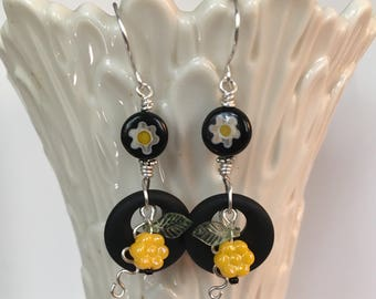 BLACK SEA GLASS, Beaded Earrings, Hoop Earrings, Sea Glass Earrings, Black Sea Glass, Beachy Jewelry, Flower Earrings, Twinkling Of An Eye