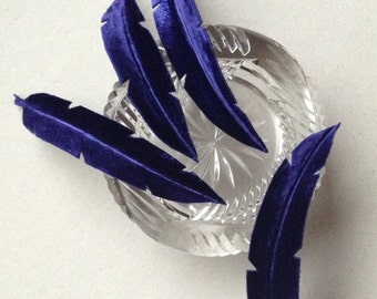 Millinery Supplies, Royal Blue Silk Velvet Feathers or Leaves, Four Handmade Embossed Feathers or Leaves