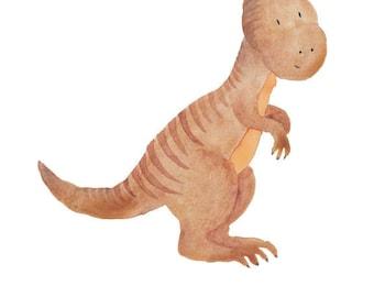 Dinosaur Watercolor Parasaurolophus- Nursery Room or Playroom art print