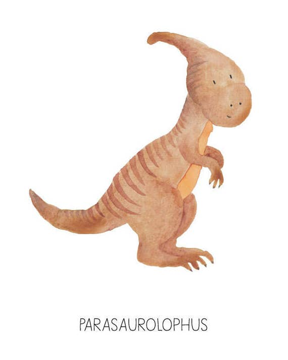 Dinosaur Watercolor Parasaurolophus- Nursery Room or Playroom art print