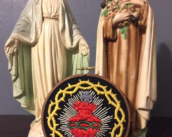 Hand embroidered sacred heart, religious art