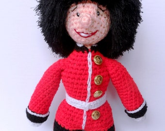 Hand-crocheted Beefeater Guard. Buckingham Palace Guard Soft Toy