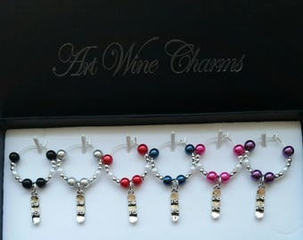 6 Snowboard themed Wine Charms, Snowboarding, Chalet, Themed Party, Party Favors, Thank You, Gift, Coach, Freestyle, Cruising, Powder Riding