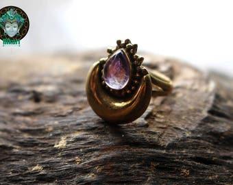 AMETHYST RING, brass ring,Amethyst, ornate, brass jewelry, unique jewelry, hippiechic, bohochic, gypsy, brass casting