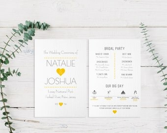 Simple Heart Wedding Program | Ceremony, Reception Stationery | Cute Love Printable PDF Custom Design