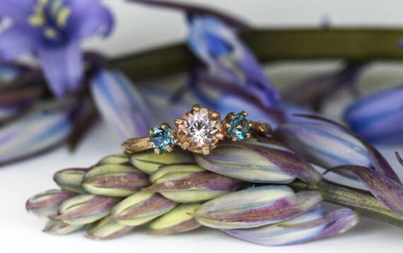 Morganite and gold twig engagement ring, twig nature aquamarine morganite ring, three stone ring, 14k gold engagement ring
