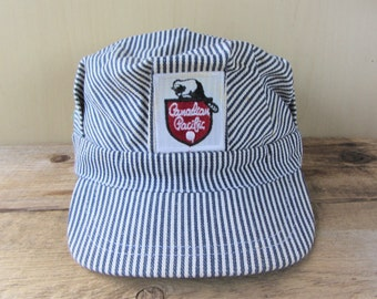 """Vintage CANADIAN PACIFIC RAILWAY Engineer Train Conductor Hat Striped Fitted Authentic Locomotive Cap 58 cm 23"""" Made in Hong Kong"""