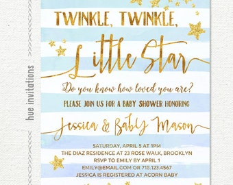 twinkle twinkle little star baby shower invitation for boy, gold glitter stars blue watercolor stripes, customized printable digital file
