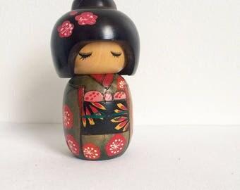 Vintage Kokeshi Doll, Japanese Wooden Doll