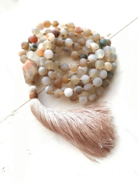 Moonstone Mala Beads, Druzy Agate Mala Necklace, Long Tassel Mala Beads, Earth Tone Mala, 108 Bead Mala, Japa Mala Beads, Yoga Jewelry