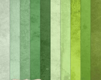 """Digital Printable Scrapbook Craft Paper - Grunge Vintage Single Solid Colour Papers in Green Shades - 12 x 12"""" - PU/CU Commercial Use"""