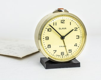 "Alarm clock ""Slava"" – retro alarm clock – vintage shelf clock – mechanical clock –  russian ussr desk clock 70s"