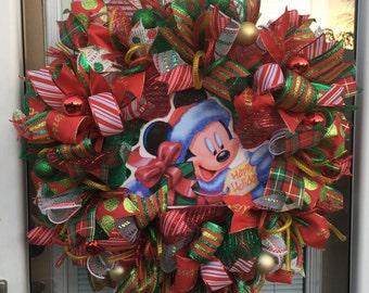Holiday Disney wreath Christmas Disney wreath Mickey Christmas wreath Christmas Mickey Mouse Christmas Disney Christmas wreath READY TO SHIP