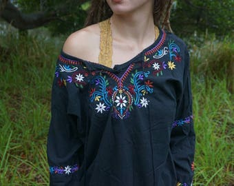 Vibrant embroidery hippie top